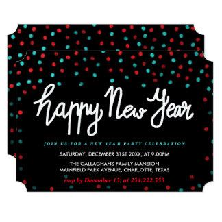 Cartão Partido azul vermelho do feliz ano novo dos