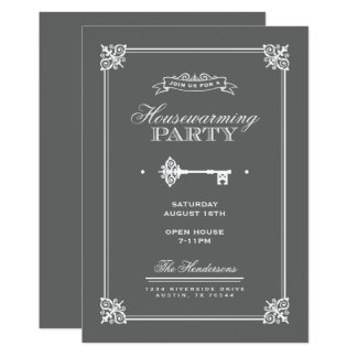 Cartão Partido chave elegante do Housewarming