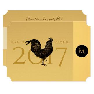 Cartão Partido chinês 2017 do ano novo do galo chique do