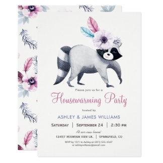 Cartão Partido chique do Housewarming do guaxinim da