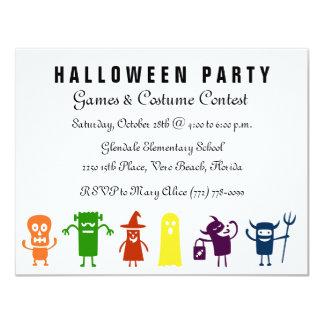 Cartão Partido colorido do traje do Dia das Bruxas dos