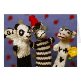 Cartão Partido com panda, zebra e vaca