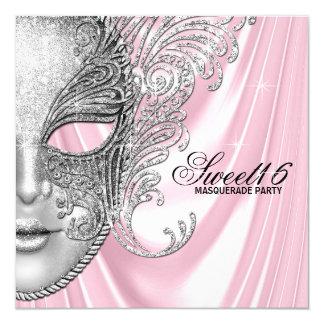 Cartão Partido cor-de-rosa do mascarada do doce 16 do