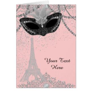 Cartão Partido cor-de-rosa e preto do mascarada de Paris