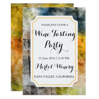 Cartão Partido da degustação de vinhos da aguarela da