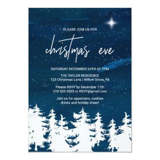 Cartão Partido da Noite de Natal da noite estrelado