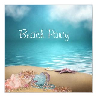 Cartão Partido da praia da areia dos Seashells da água