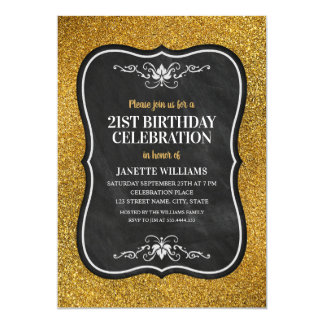 Cartão Partido de aniversário de 21 anos adulto do brilho
