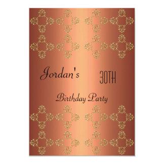 Cartão Partido de aniversário de 30 anos de cobre