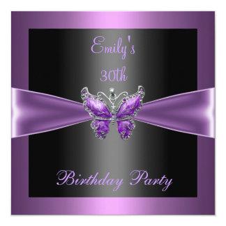 Cartão Partido de aniversário de 30 anos preto malva roxo