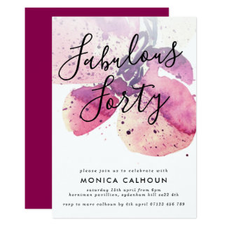 Cartão Partido de aniversário de 40 anos da orquídea da