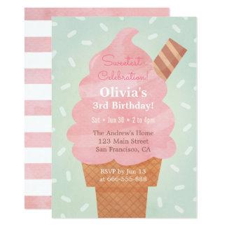 Cartão Partido de aniversário de criança cor-de-rosa do