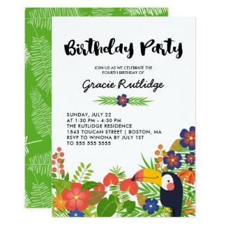Cartão Partido de aniversário de criança tropical feliz