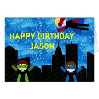 Cartão Partido de Bithday dos meninos do super-herói