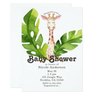 Cartão Partido de chá de fraldas da aguarela do girafa da