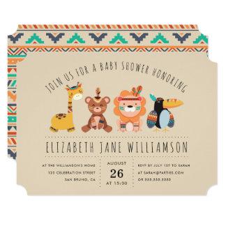 Cartão Partido de chá de fraldas tribal do menino dos