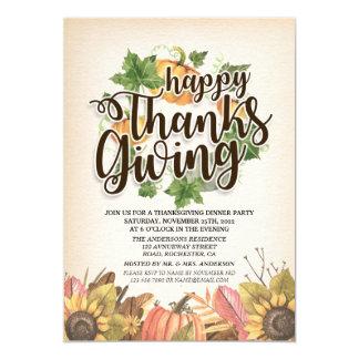 Cartão Partido de comensal chique da acção de graças das