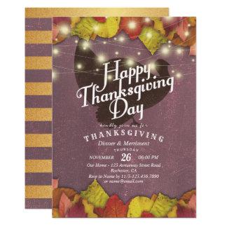 Cartão Partido de comensal da acção de graças das folhas