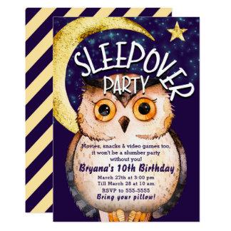 Cartão Partido de descanso roxo bonito do Sleepover da