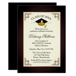 Cartão Partido de formandos formal elegante do ouro