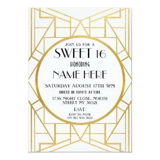 Cartão partido de Gatsby do doce 16 do aniversário do art
