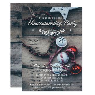 Cartão Partido de madeira rústico do Housewarming do