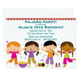 Cartão Partido de pijama das meninas