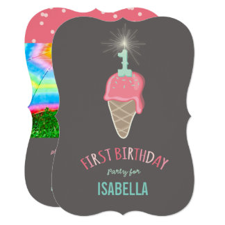 Cartão Partido de primeiro aniversario cor-de-rosa da