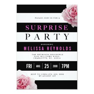 Cartão Partido de surpresa branco e cor-de-rosa preto dos