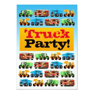 Cartão Partido do caminhão da construção do aniversário