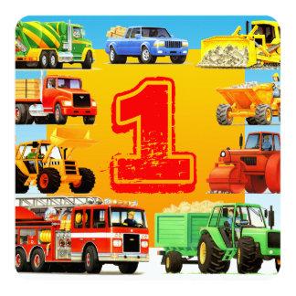 Cartão Partido do caminhão da construção do primeiro