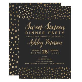 Cartão Partido do doce 16 da tipografia das bolinhas do