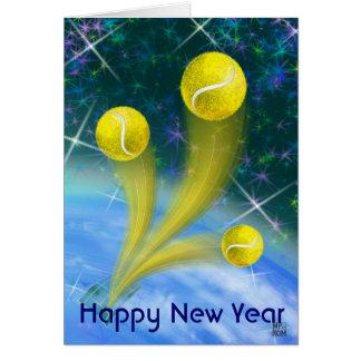 Cartão Partido do feliz ano novo da vitória do tênis