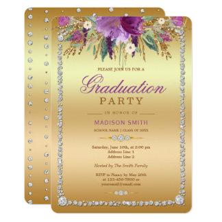 Cartão Partido do formando do ouro das flores da aguarela