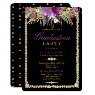 Cartão Partido do formando dos diamantes das flores da