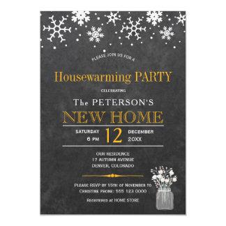 Cartão Partido do housewarming do inverno do quadro dos