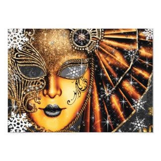 Cartão Partido do mascarada do ano novo do inverno do