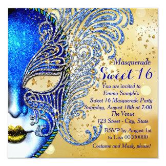 Cartão Partido do mascarada do doce 16 dos azuis marinhos