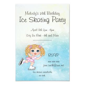 Cartão Partido do patinagem no gelo da menina