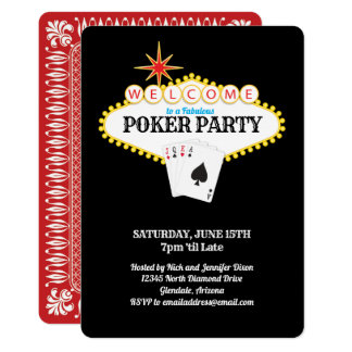 Cartão Partido do póquer do sinal do famoso de Las Vegas
