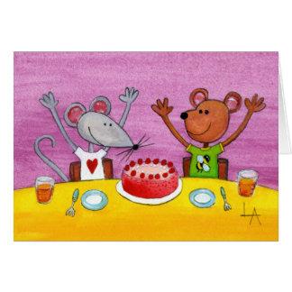 Cartão Partido do rato & do urso