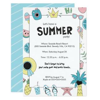 Cartão Partido do verão! Tema da praia do divertimento