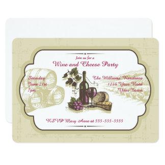 Cartão Partido do vinho e do queijo