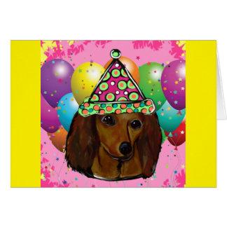 Cartão Partido Doxie vermelho de cabelos compridos