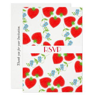 Cartão Partido editável RSVP das flores frutados das