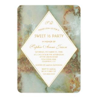 Cartão Partido elegante do DOCE 16 do mármore do verde do