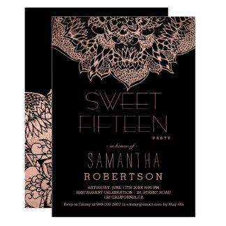 Cartão Partido floral do doce 15 da mandala do boho