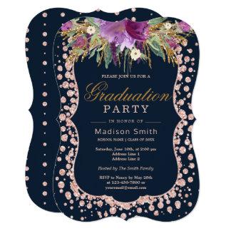 Cartão Partido floral Glam do formando dos confetes