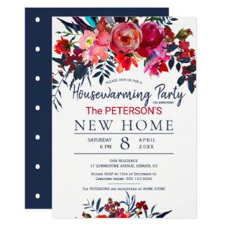 Cartão Partido floral vermelho vibrante do housewarming