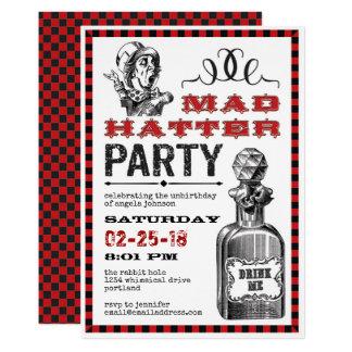 Cartão Partido louco de Unbirthday do Hatter